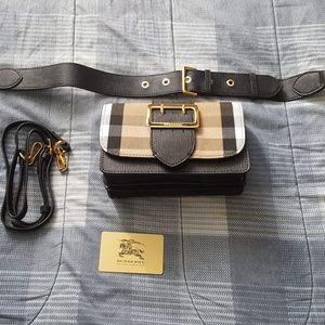 New! Burberry Small Buckle House Check & Leather